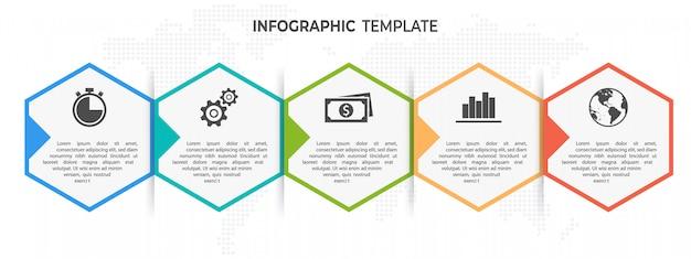 Linha do tempo hexágono infográfico modelo 5 opções ou etapas.