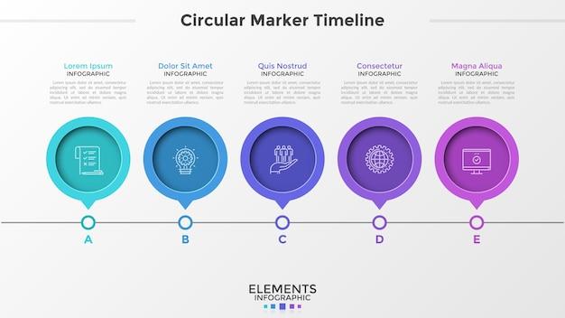 Linha do tempo horizontal com 5 ponteiros redondos ou elementos marcadores, símbolos de linha fina, letras e local para texto. modelo de design simples infográfico. ilustração vetorial para apresentação, brochura.