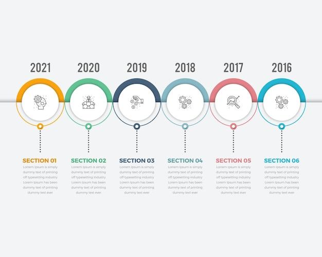 Linha do tempo horizontal com 6 elementos de papel circular branco com ícones