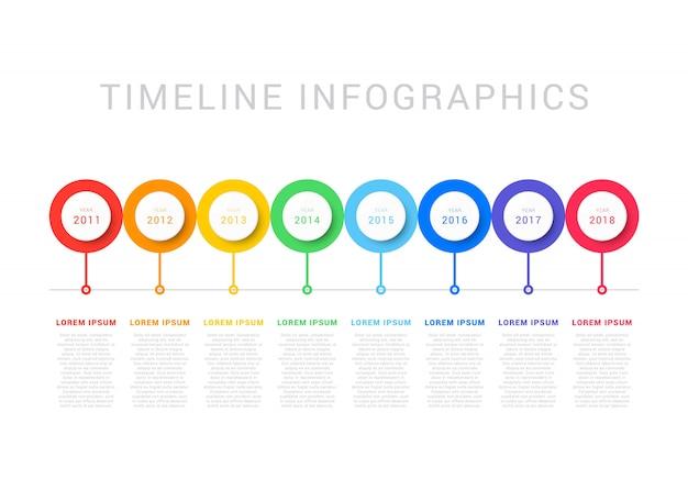 Linha do tempo horizontal com oito elementos circulares, indicação do ano e caixas de texto. diagrama de processo simples