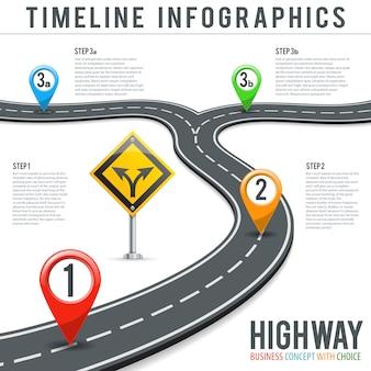 Linha do tempo infografia de estrada com ponteiros de pinos