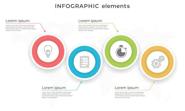 Linha do tempo infográfico círculos modelo quatro opções.