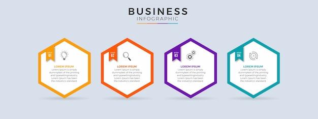 Linha do tempo infográfico com design plano de 4 etapas
