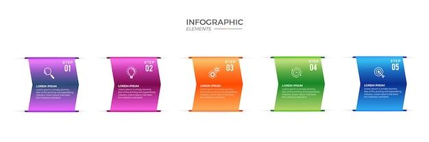 Linha do tempo infográfico com design plano de 5 etapas