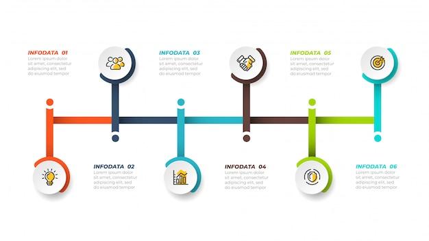 Linha do tempo infográfico conept design com ícones de marketing. conceito de negócio com 6 etapas, opções, processos. ilustração vetorial