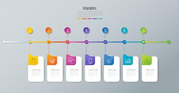 Linha do tempo infográficos design com etapas ou opções.