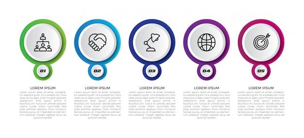 Linha do tempo mínimo círculo infográfico modelo 5 opções ou etapas.