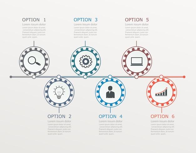 Linha do tempo, modelo de infográficos com estrutura por etapas com 6 opções.