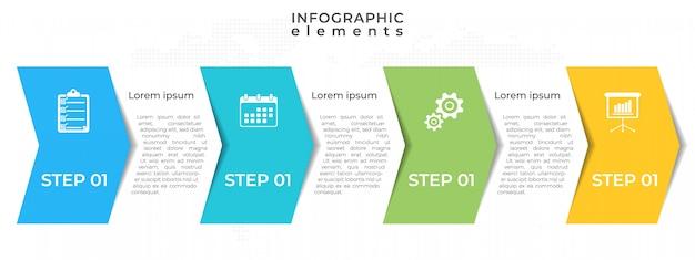 Linha do tempo moderno infográfico 4 passo.