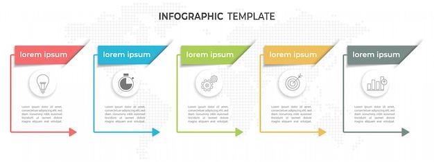 Linha do tempo moderno infográfico 5 opções.