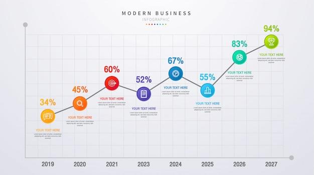 Linha do tempo negócios infográfico com etapas e opções oito opções. quadro e gráfico, relatório de dados da web e apresentação