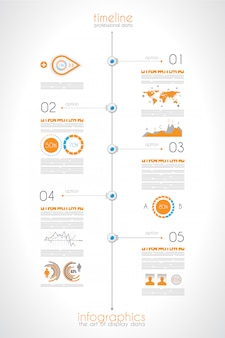 Linha do tempo para exibir seus dados com elementos do infográfico