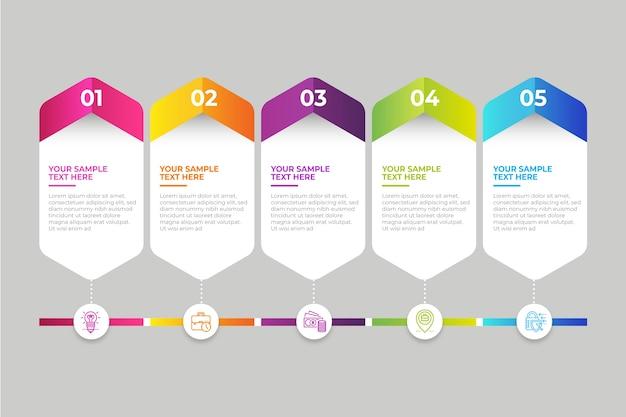 Linha do tempo profissional infográfico gradiente