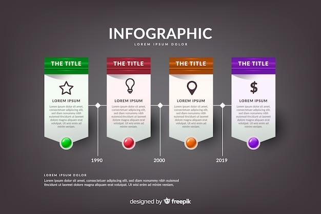 Linha do tempo realista infográfico lustroso