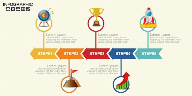 Linha do tempo seta infográficos modelo cinco opções.