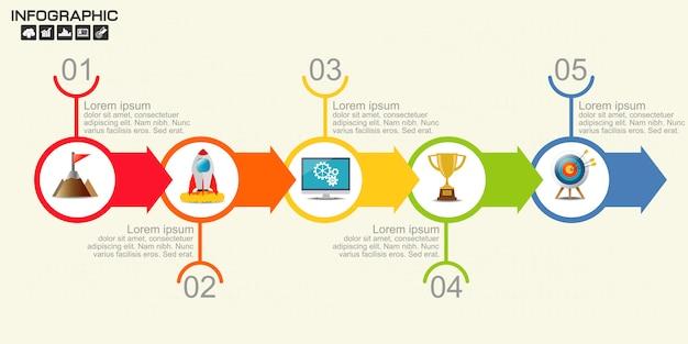 Linha do tempo seta infográficos modelo cinco opções. Vetor Premium