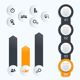 Linha do tempo vertical, elementos para infográficos de negócios, 1, 2, 3, 4, rótulos de etapa e gráfico