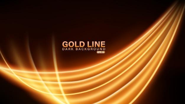 Linha dourada de luz em fundo escuro