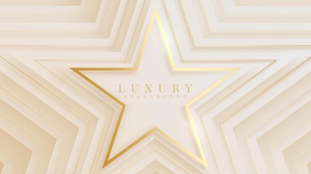 Linha dourada em forma de estrela no brilho da cena da tela de luxo, conceito de fundo de indicação ao prêmio em cor creme pastel, ilustração vetorial sobre modelo moderno de design de sentimento doce e suave.