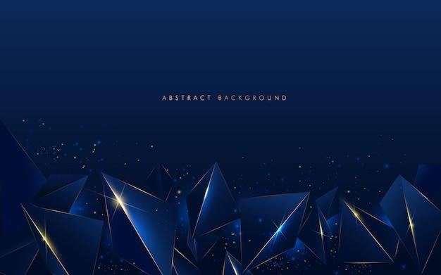Linha dourada luxo abstrato baixo padrão poligonal com fundo azul marinho escuro.