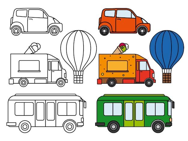 Linha e conjunto de transporte colorido