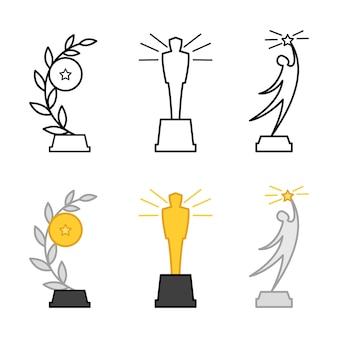 Linha e prêmios diferentes coloridos, estatuetas isoladas no fundo branco Vetor Premium