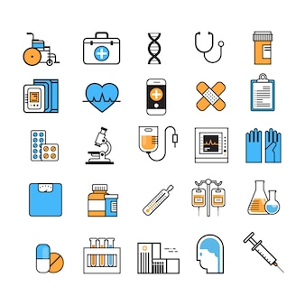 Linha fina ajustada sinal do equipamento médico do equipamento da medicina no conceito branco do tratamento do hospital do fundo