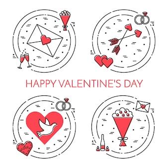 Linha fina bandeira de ícones para dia dos namorados e tema de data.