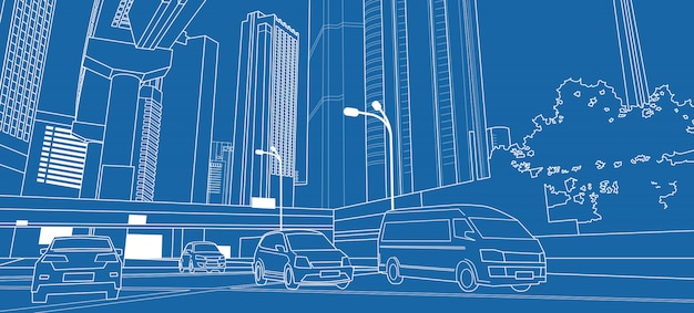 Linha fina com arranha-céus e carros na estrada