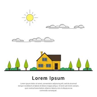 Linha fina de casa de campo privada com árvores, nuvens e sol, casa de família, imóveis e conceito de indústria de construção