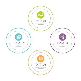 Linha fina de círculo de infográficos com 4 modelos de dados