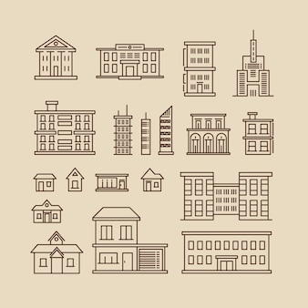 Linha fina de edifícios vetor ícones