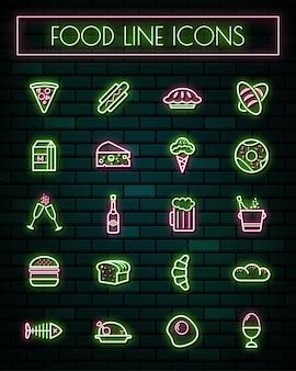 Linha fina de néon de alimentos linha brilhante conjunto de ícones.