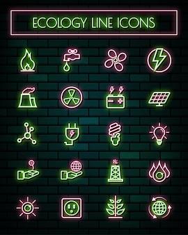 Linha fina de néon de energia brilhante conjunto de ícones.