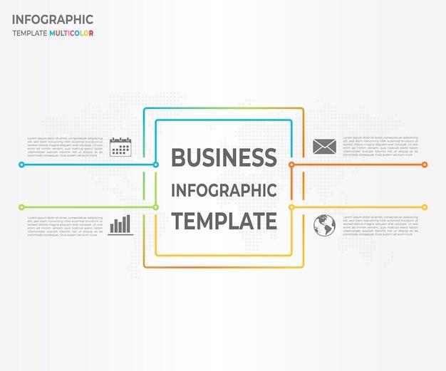 Linha fina diagrama quadrado infográfico 4 opções