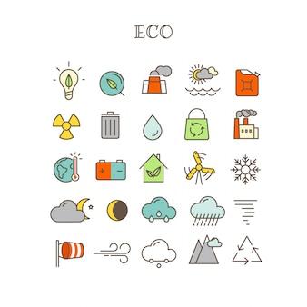 Linha fina diferente ícones do vetor da cor ajustados. eco
