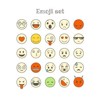 Linha fina diferente ícones do vetor da cor ajustados. emoji