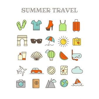 Linha fina diferente ícones do vetor da cor ajustados. viagem de verão