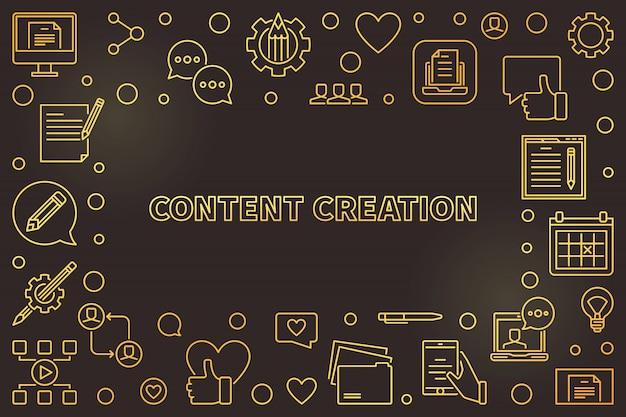 Linha fina dourada de criação de conteúdo com moldura