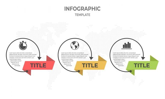 Linha fina infográfico timeline design, círculo 3 opções.