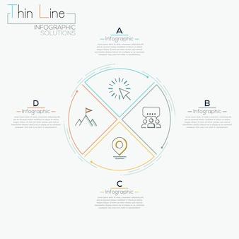 Linha fina mínima seta negócios infográfico pizza círculo modelo