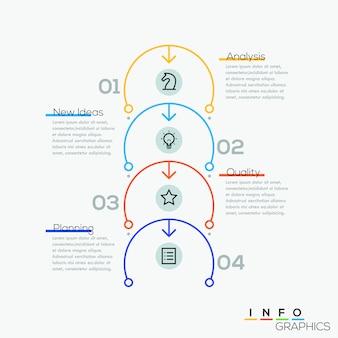 Linha fina modelo de ciclo de negócios mínimo de seta.