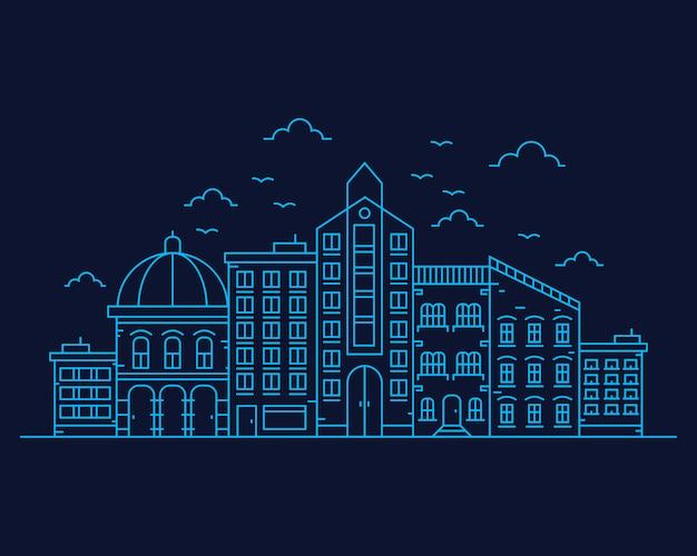 Linha fina paisagem da cidade