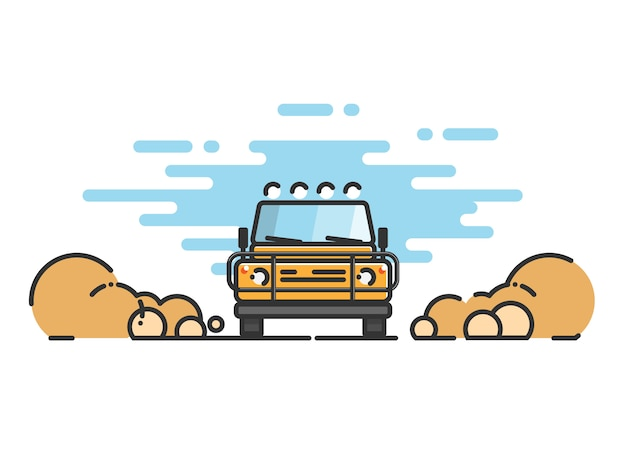Linha fina plana de carro