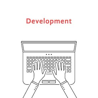Linha fina preta mãos no laptop. conceito de teste, rotina de freelancer, estilo de vida, análise, promoção, seo, designer, desenvolvedor. ilustração em vetor design de tendência estilo plano no fundo branco