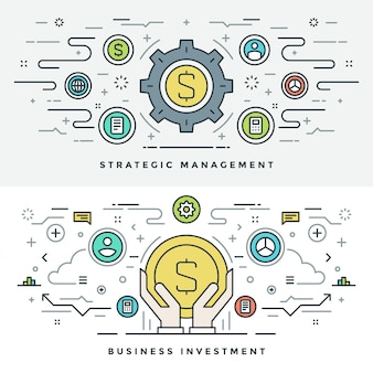Linha fixa de investimento empresarial e gestão. ilustração.