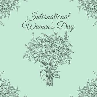 Linha floral dia internacional da mulher