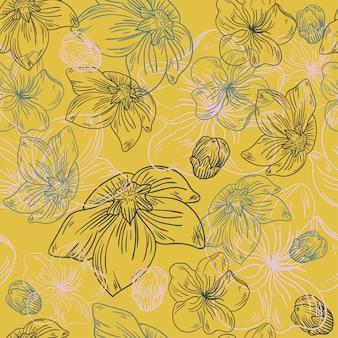 Linha floral flor padrão tecido esboço arte