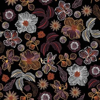 Linha florescendo esboço desenhado à mão em muitos tipos de flores padrão sem emenda de plantas botânicas