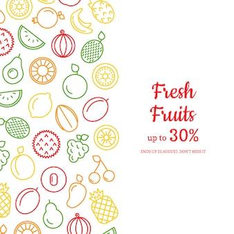Linha frutas ícones com ilustração copyspace